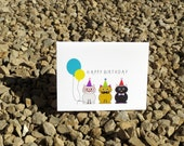 Cat Birthday Card - Colorful - Birthday Card - Illustrated