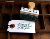 """Hand Lettered Holiday Rubber Stamp, Handwritten Calligraphy Stamp """"it's the most wonderful time of the year"""" Christmas Card Stamp"""