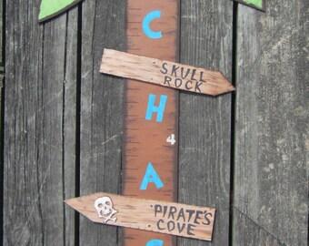 PIRATE ISLAND Wood Growth Chart - Original Hand Painted Keepsake