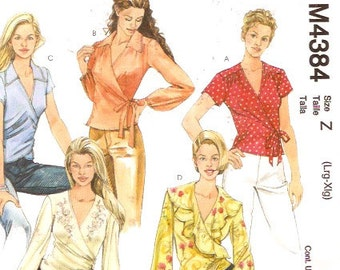 Wrap front top day or night blouse sewing pattern McCalls 4384 Size XS to Medìum UNCUT