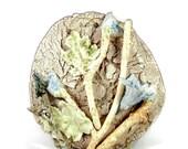Porcelain Wall Sculpture - Ceramic Wall Hanging -  Flower Garden III - Handmade Pottery - Ready to Ship