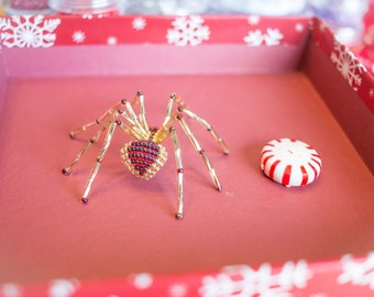 Gold and Garnet Beaded Spider Ornament - includes the Legend of the Christmas Spider Story