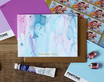 Watercolor Thank You Notes / Set (10) / Pastel / Shimmer Antique Gold Envelopes