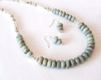 Aqua Terra Jasper Southwestern Necklace Earring Set, Impression Jasper Rondelles and Silver Beads