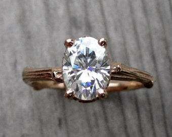 Oval Moissanite Twig Engagement Ring: Rose, White, Yellow Gold; 1.5ct Forever One ™