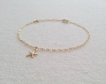 Free Shipping 14k Gold filled Starfish Charm Anklet.Freshwater Pearl.Anklet Vacation.Summer 2016.Wedding Jewelry.Wrapped.New Mom.Girls Gift