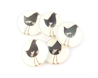 "6 Crow Crow Sewing Buttons.  3/4"" or 20 mm."