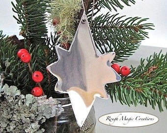Metal Christmas Ornament, Silver Star of Bethlehem, Festive Holiday Decoration, Advent Decor, Eco Friendly Aluminum Metal
