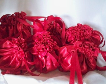 Travel Jewelry Bags, Bright Red Satin,, Ribbon Drawstring, Made To Order, Small Jewellery Pouch, Favor Bag, Valentine Gift
