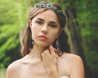 Bridal Tiara, Custom Tiara, Emerald, Medieval Wedding, Bridal Headpiece, Renaissance Wedding, Handfasting, Ren Faire, Garb, Lucia Tiara