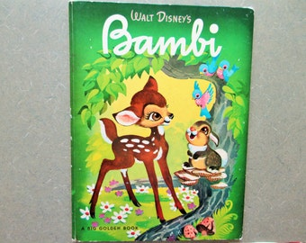 Vintage Book, Bambi, Children's Book, Illustrated Book, Walt Disney Bambi, Big Golden Book, Felix Salten, Child Book Library, Large Hardback