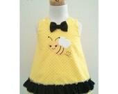 Bumble Bee Dress and Matching Headband, Bumble Bee A line Dress, Bumble Bee Jumper, Bumble Bee 1st Birthday Dress, Size 6-12M