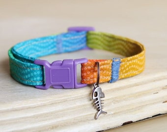 Rainbow Sweep Safety Cat Collar with Fish, Heart Charm or Bell