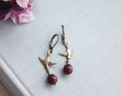 Flying Swallow Birds and Maroon Pearls Dangle Earrings. Ivory Pearls Antiqued Brass Birds Earring, Ivory Bird Rustic Wedding. Woodland Birds
