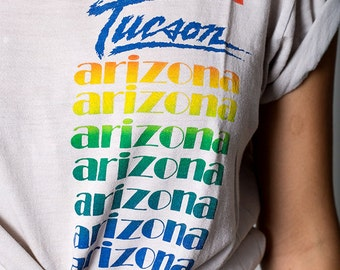 The Vintage 50/50 Tuscon Arizona Rainbow Text Tshirt