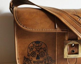 Day of the Dead - VINTAGE shoulder bag with hand painted sugar SKULL