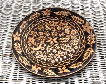 upcycled 8 5/8 inch wood burned weston bowl mill plate-flower bird leaf design-serving-wedding hostess gift