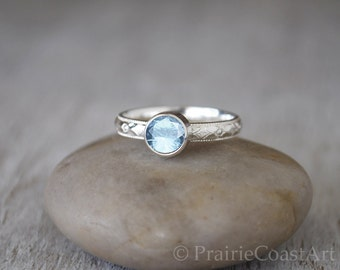 Aquamarine Ring Sterling Silver - Handcrafted Sterling Silver Aquamarine Ring -  Aquamarine Stacking Ring - March Birthstone Ring