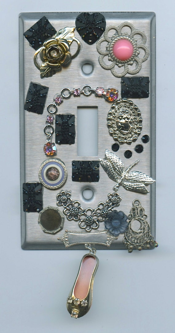 Steampunk Light Switch Cover With Vintage Jewelry Pieces