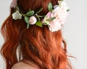 Leafy flower crown, hair wreath, pink floral crown, woodland crown, circlet, bridal headpiece, wedding hairpiece, hair accessories - Fleur