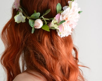 Leafy flower crown, hair wreath, pink floral crown, woodland crown, circlet, bridal headpiece, wedding hairpiece, hair accessories - Fleur