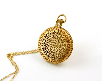 Gold Locket, Necklace, Filigree Pendant with Push Button, Long Necklace, Pocket Watch, Round Pendant, Ornate Floral Design, Large Jewelry