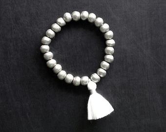 Tassel Bracelet, African Beads Bracelet, Ethiopian Bracelet, Bohemian Jewelry, Yoga Mala Bracelet, Silver Bracelet, Tribal Rustic Jewelry