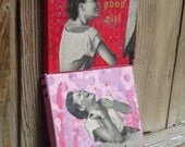 "laugh it off - 3"" x 3"" original artwork  painting and WWII era collage"