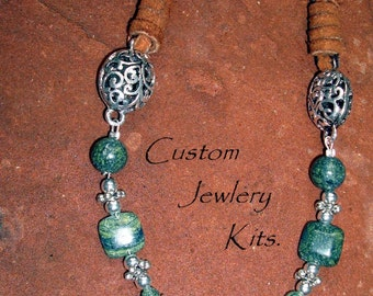 DIY Jewelry Kit Necklace Kit Green Serpentine leather wrap w silver filigree connector window tin, bag ALL included w pictured instructions
