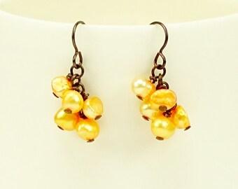 Orange Pearl Cluster Niobium Earrings, Hypoallergenic Nickel Free Earrings For Sensitive Ears, Metal Allergy Safe Bridal Fashion