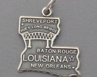 Sterling Silver .925 Charm Pendant LOUISIANA State Map SC617