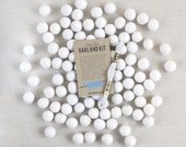 Felt Pom-Poms // White (optional garland kit) // Felt Balls, Wedding Garland, Winter Felt Balls, Christmas Felt Balls, DIY Craft, Felt Beads
