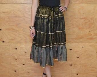 Vintage 80's Gypsy Midi Tiered Skirt Black With Gold Stripes  SZ S/M/L