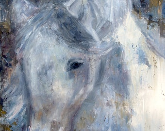 White horse painting, Equine art, horse painting, Palette knife painting, horse, Arabian Horse, Appaloosa, original oil by Carol DeMumbrum