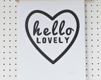 Hello Lovely Print Poster A4 Black