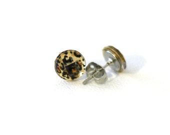 Leopard Stud Earrings in Gold and Black Stripes Repurposed Scrapbook Buttons Post Earrings for Girls, Teens, or Women
