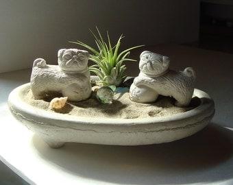 SALE! Lucky Double Pug Foo Dog Sculptures in Zen Dish Garden Air Plant Terrarium / Pug Lover Gift