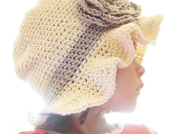 6 to 12m Ruffles Baby Flower Hat - Cream Sun Hat with Brown Rosette, Crochet Baby Hat, Rose and Leaf Brim Flapper Hat, Baby Cloche Girl Hat