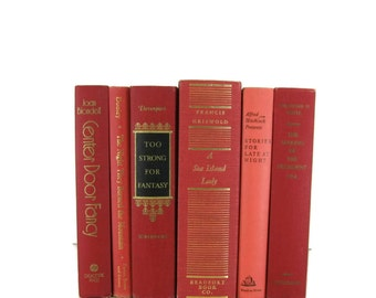 Red  Collection Vintage  Decorative Books for Wedding Decor, Home Decor, and Photography Prop