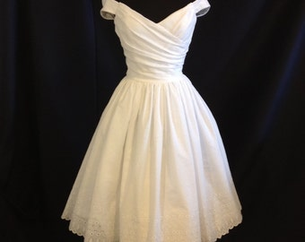 Short Wedding Dress, Off Shoulder, Cotton Eyelet, FLIR-TINI, Tea Length or Short Wedding Dress