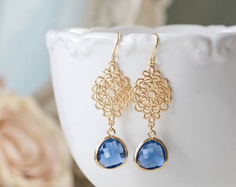 Gold Navy Blue Earrings Sapphire Blue Montana Blue Glass Drop Earrings Gold Filigrees Dangle Earrings Navy Blue Wedding Bridesmaids Gift