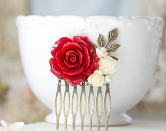 Red Wedding Hair Comb Bridal Hair Comb Bridesmaid Gift Red Rose Ivory White Flower Leaf Branch Collage Hair Comb Country Chic Garden Wedding