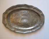 Reserved for S - Lovely 1917 French Pewter Salamander and Crown Plate - Rose & Crown Hallmark - Arthur Chaumette