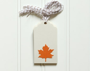 10 Die Cut Maple Leaf Fall / Autumn Thanksgiving Tags (3.5 inches) in Off White Cream & Orange Cardstock with Brown Baker's Twine