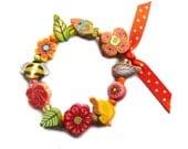 CHILD bracelet, Bee bird flowers and fish beads, flower girl jewelry, girls stretch Bracelet, little girl handmade polymer clay beads