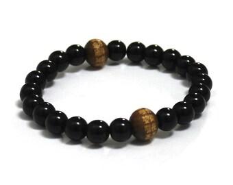 Obsidians Men Mala Beads Chinese Buddhist Mantra Wood Bead Chakra Stones Prayer Birthday Men Inspirational Jewelry Spiritual Gift for Friend