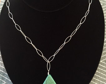 Turquoise & Hammered Sterling Silver Necklace
