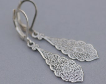 NEW Sterling Silver Art Deco Filigree Drop Earring,Ornate Silver Filigree Dangle,Art Nouveau,Sterling Silver Lever Back,Weddings,Bridesmaids