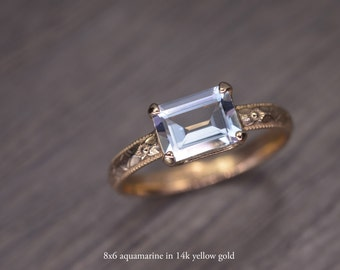 Aquamarine Gold Ring, emerald cut 14k solid gold milgrain solitaire, March Birthstone - Fitz Ring