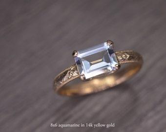 Aquamarine Gold Ring, emerald cut 14k solid gold milgrain solitaire, March Birthstone - Fitz Ring